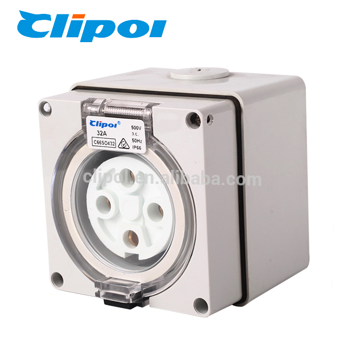 Electric power outlet insulating dustproof 4Pin 32A industrial socket outlet
