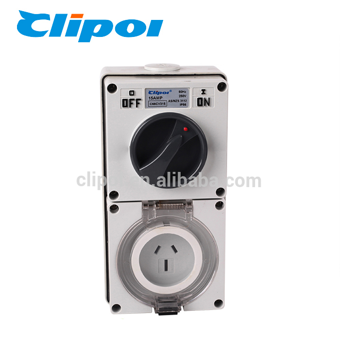 Switched socket ellasejo elektra Industria konstruejo IP56 3 pinglo 15 amp interŝanĝis socket