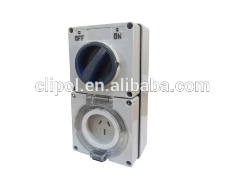 SAA Australia/NZ AS/NZS3123 single phase IP56 250V 10A industrial electrical switched socket outlet