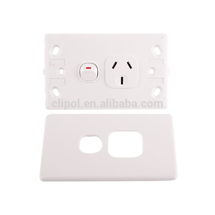 Featured products Slimline white 250V 10A single power point with extra switch Clipol