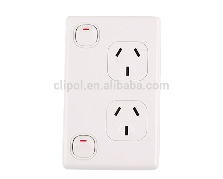 vertical power outlet wall switch double 250v