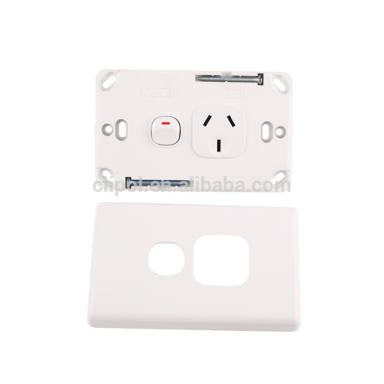 Online products Slimline white 250V 10A single power point with extra switch Clipol