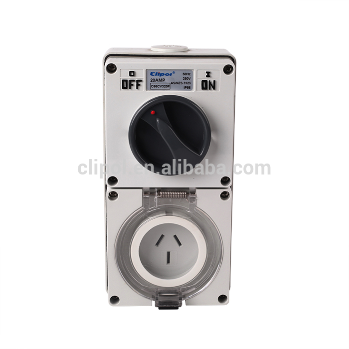 IP56 SAA clipol Australia 3 phase 500V 32A 3 pin Switched Sockets electrical industrial style