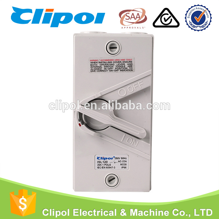 20A Weather Protected 1 Pole IP66 Isolation Switch For Industrial