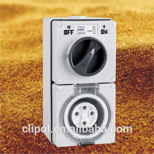 SAA Australian Standards Industrial Combination Switched Sockets Hottest surface sockets