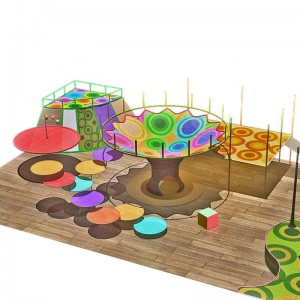 Complex colorful net playground for children