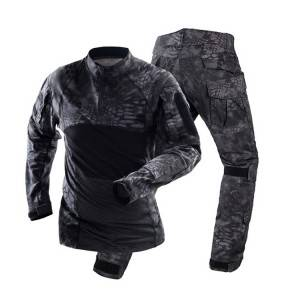 Long Sleeve Black Python Frog Army Military Uniform, Camo Frog Suits Black