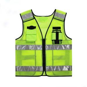 High visibility Reflective Safety Vest Customised Fluorescent Green Safety Work Reflective Vests with pockets