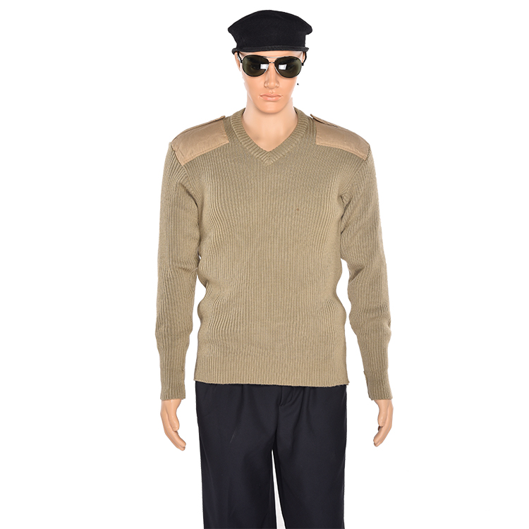 Customized Wholesale winter knit military sweater ,sweater work wear thick sweater with elbow patch