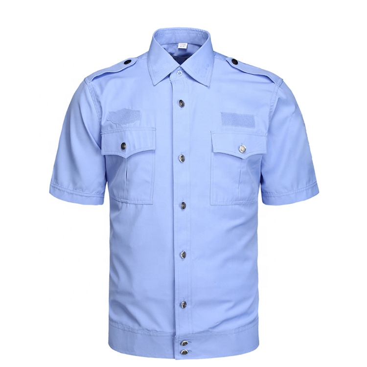 Blue White Short Sleeve Shirt Grey Safety Police Shirt
