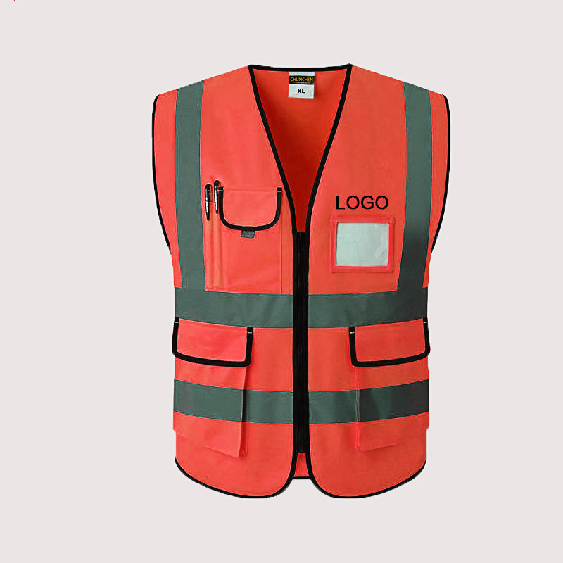 Reflective vest construction site safety vest with multiple pockets