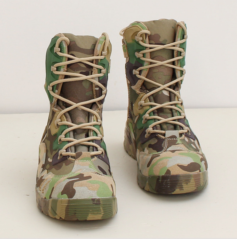 Factory direct camouflage training boots high to help outdoor hiking boots