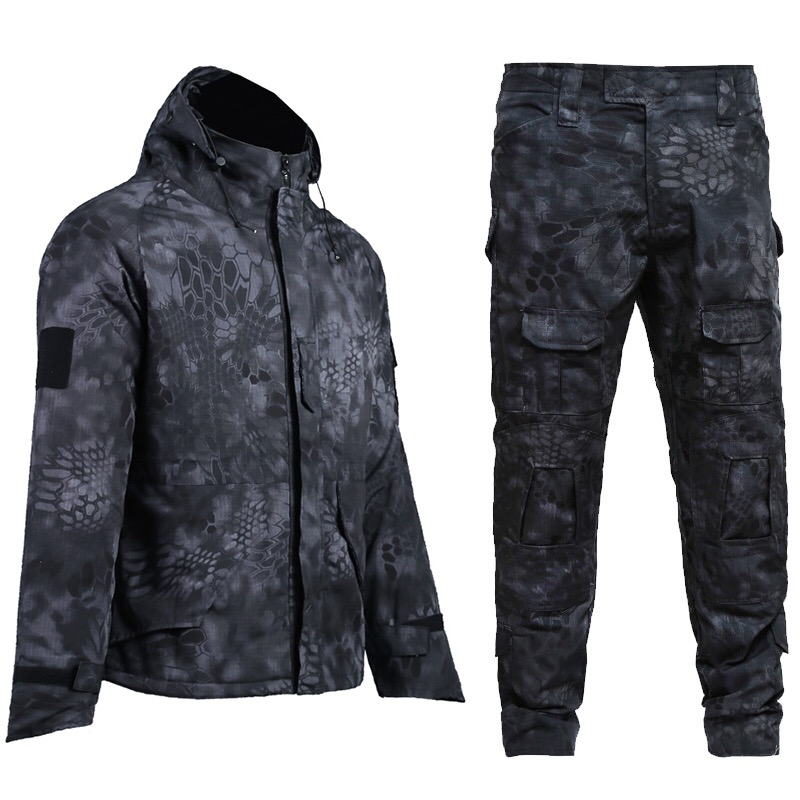 Wholesale military style black uniform combat uniforms tactical uniform set,tactical jacket