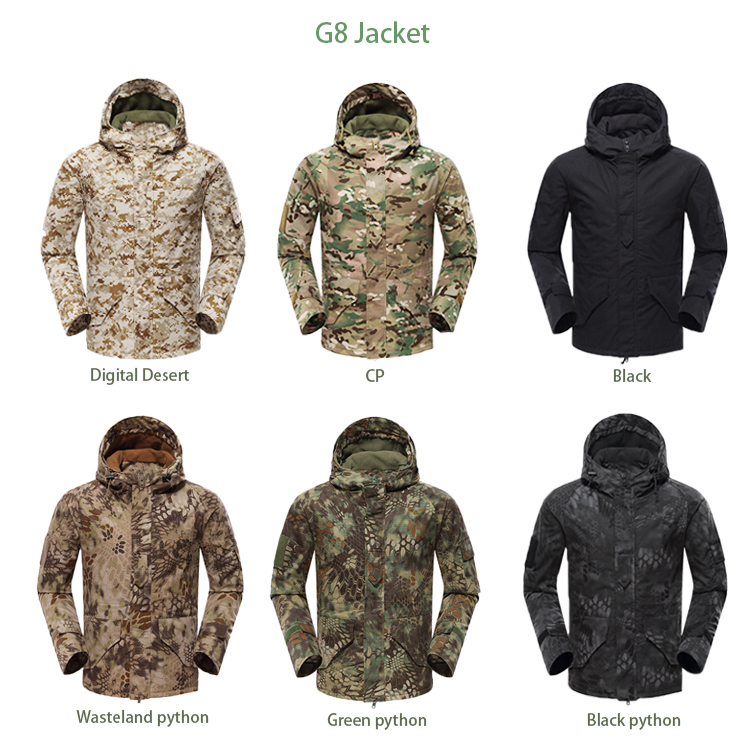 New Design Men's Black Python Camouflage Military G8 Jacket Hard Outer Shell Hiking Jacket