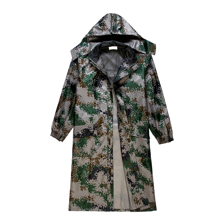 wholesale customize hunting rainwear mens long raincoat camouflage raincoat