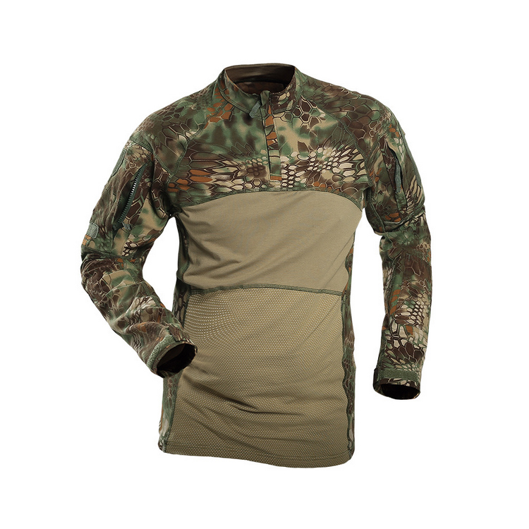 Long sleeve frog shirt green python camo uniform , camouflage army military frog suit shirt
