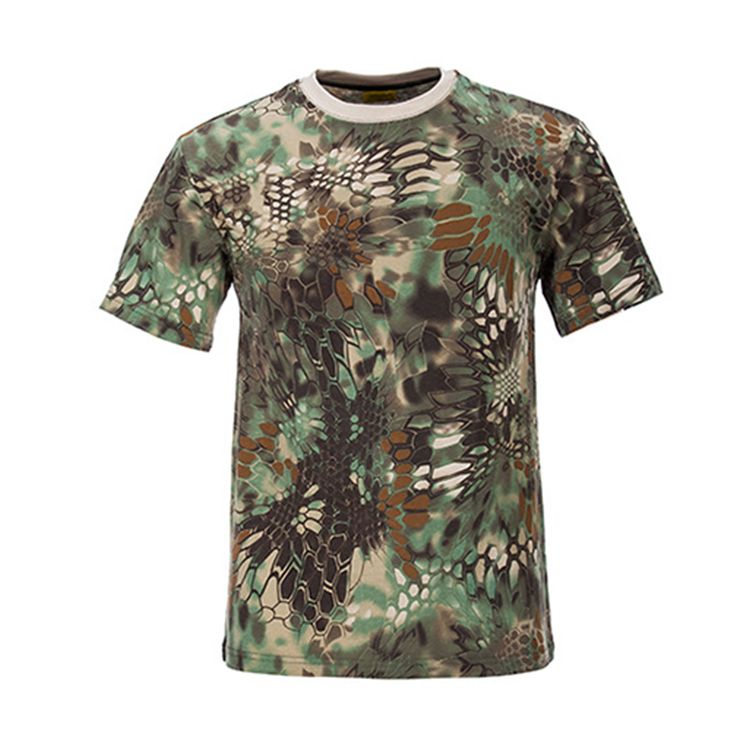Wholesale high quality 100% Cotton python woodland camouflage T shirt men  army uniform