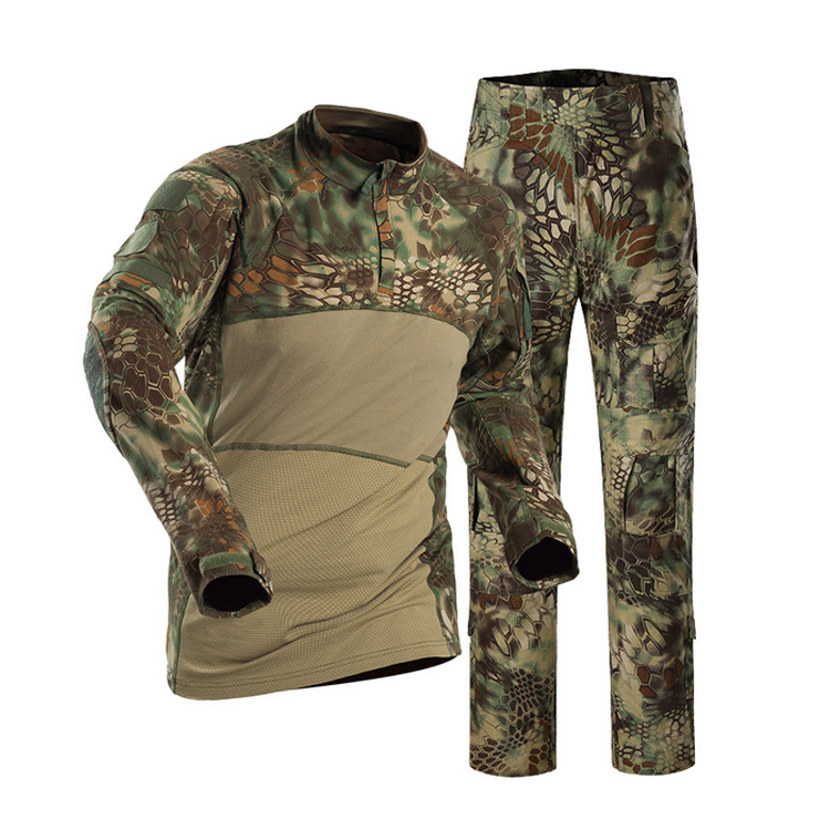 Long sleeve mountain python frog suit uniform green python camo frog suit