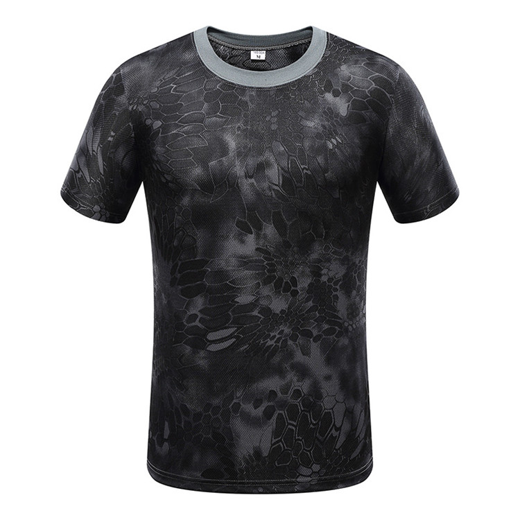 Factory  pure black python camo short sleeve round neck T-shirt Featured Image