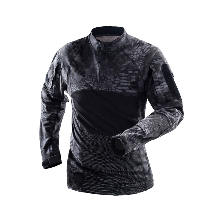 Long sleeve frog shirt black uniform ,Black python camouflage army military frog suit shirt