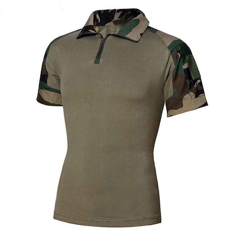 100% cotton Jungle camouflage Military Mens Polo T  Shirt