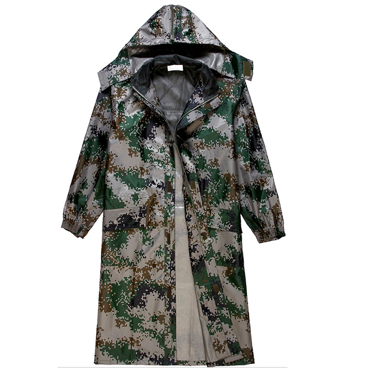 Wholesale high quality raincoats outdoor digital camouflage long style raincoats security duty raincoats
