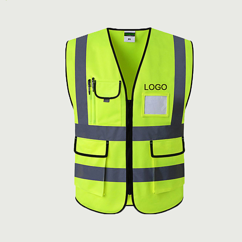 100% Polyester Safety Reflective Vests,Security Jacket Safety Reflective Work Vest with Logo and Pockets