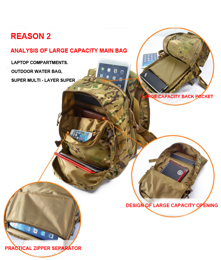 China Cheap price Military Water Bag – Wholesale Custom Outdoor Army Hunting Camouflage Tactical Military Army Backpack  For Travel Hiking – Junyiku