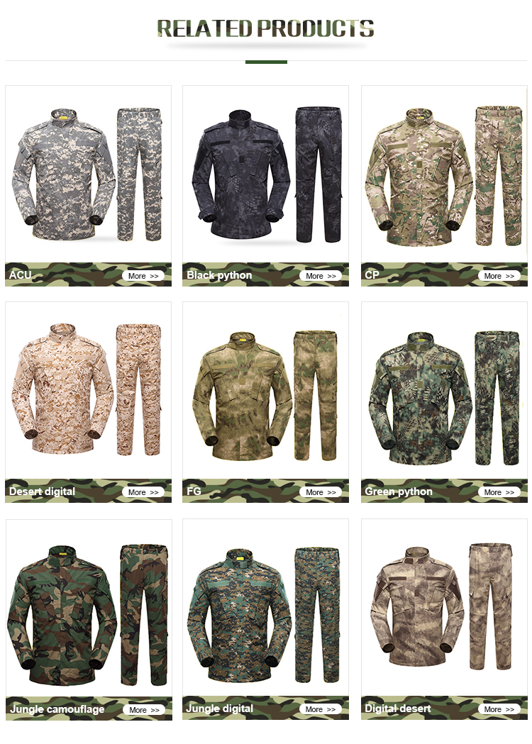 Custom military camouflage uniform army armed police forces  military tactical clothing