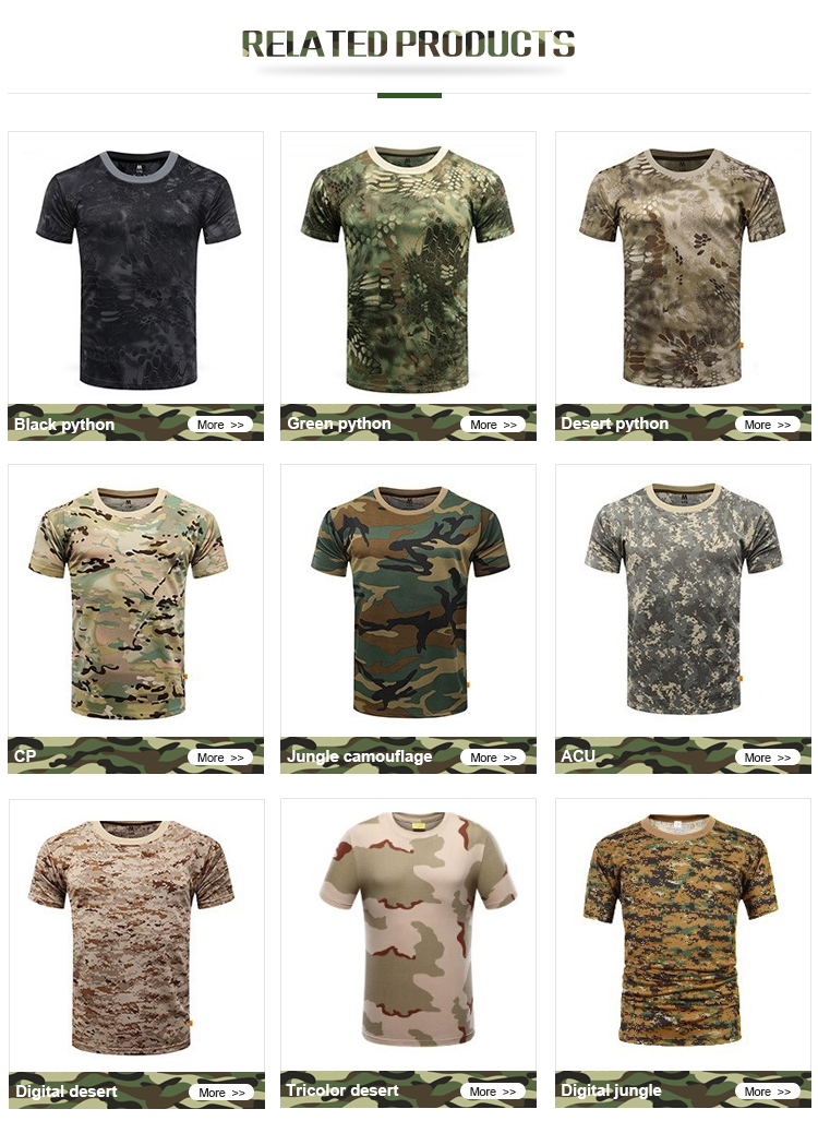 Factory  pure black python camo short sleeve round neck T-shirt