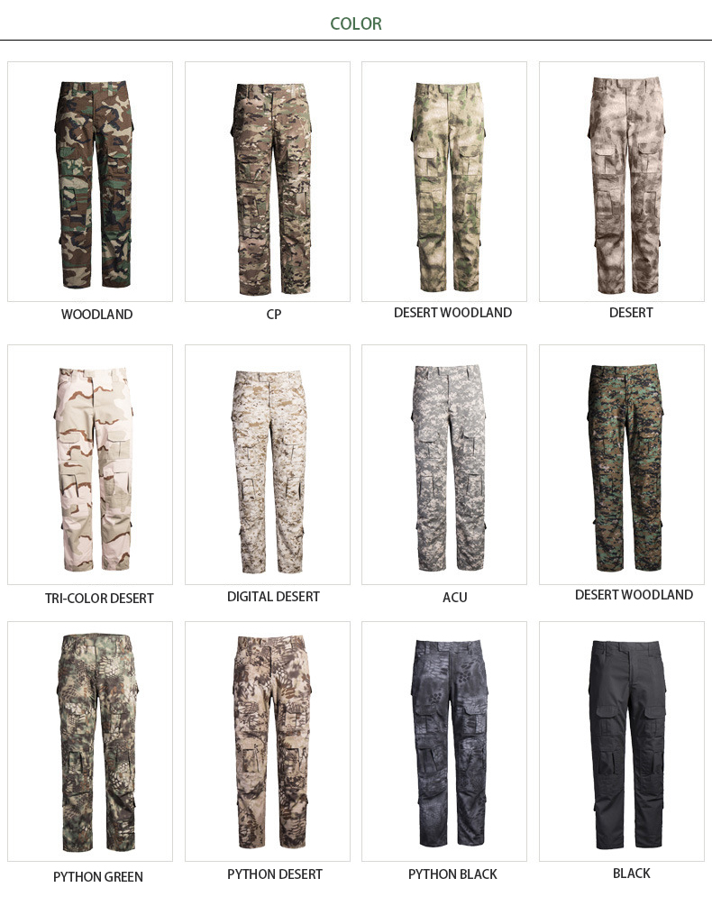 Wholesale high quality woodland army camo pants fatigue trouser for army pants