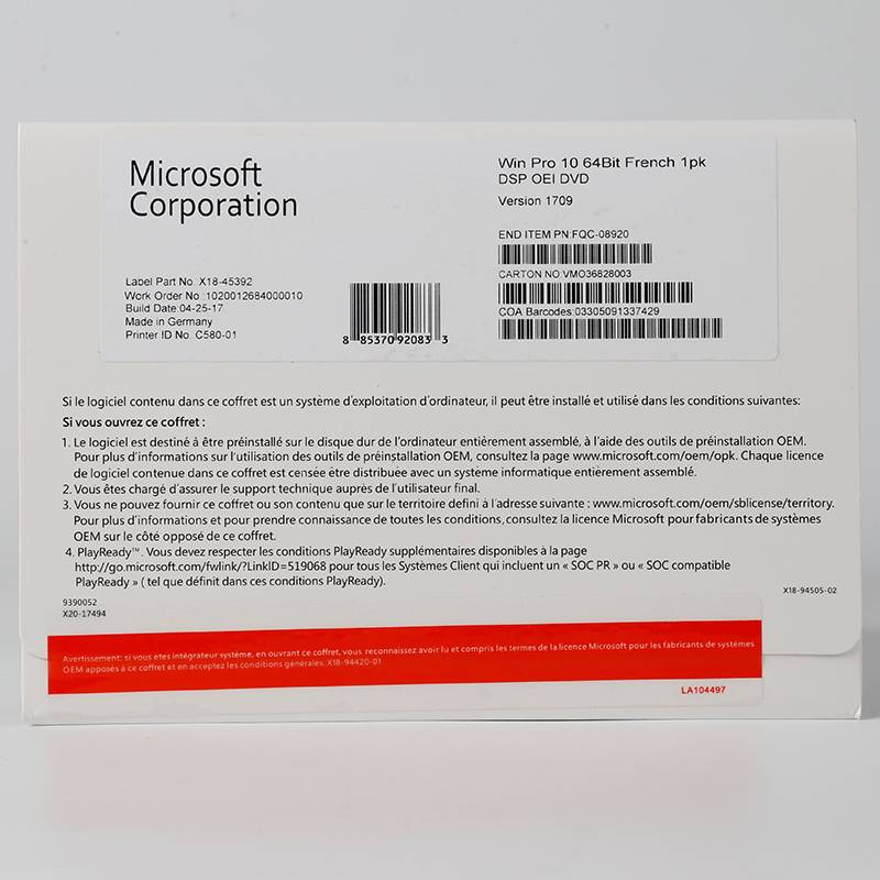 Factory Cheap Mini Computer - Microsoft Win 10 Pro 64bit OEM Version in French with Serial Key online Activation – Newtown