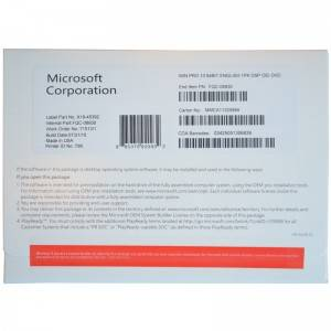 Microsoft Win 10 Pro 64bit Ingliz OEM Version