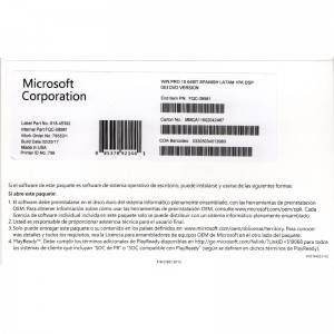 Microsoft Win 10 Pro 64bit OEM Spanish Version with genuine keycode online activation
