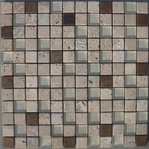 CM507 Mozaik Travertine Glass & Copper tumb (Pack nga 4) 305x305x8