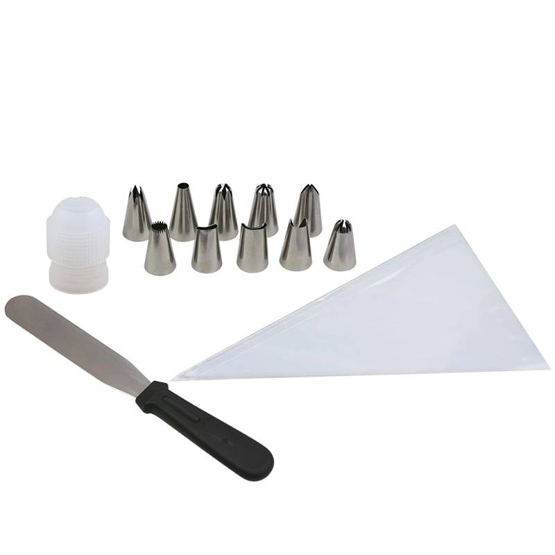 piping nozzles piping bag spatula cake set decorating tools 13 pcs Featured Image