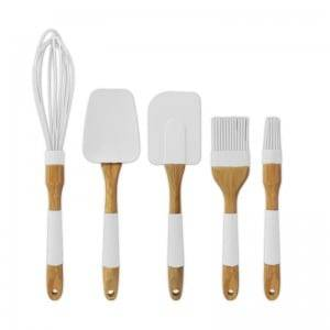 5pcs silicone baking set with wood handle KC-045