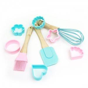 Children DIY Mini silicone spatula brush and cutter baking tools sets-KC-8011