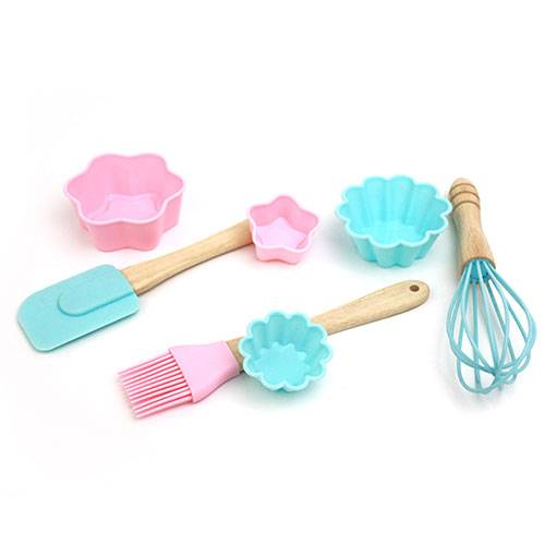 Children DIY Mini silicone spatula brush and cutter baking tools sets-KC-8010 Featured Image