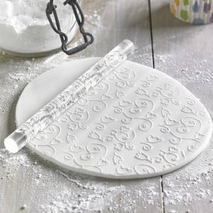 Custom pattern non-stick cake acrylic fondant decorative textured embossing rolling pin-CQ-449