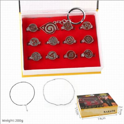 Naruto a set of 12 Ring set boxed