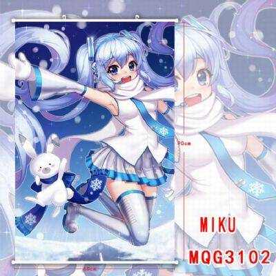 Hatsune Miku White Plastic rod Cloth painting Wall