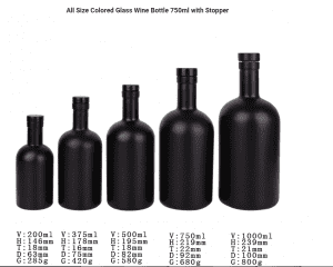 Glass Wine Bottle 750ml with Stopper Stocked all colored