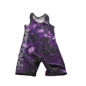 Stretchable OEM sublimation singlet Dicetak Wrestling