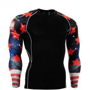 new design custom printed compression shirts rash guards
