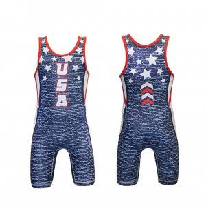 Quality High Custom Dicetak singlet Wrestling