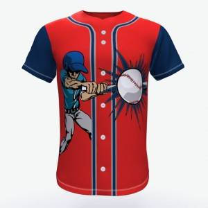 Full Button Custom Sublimation tejede Baseball Jersey