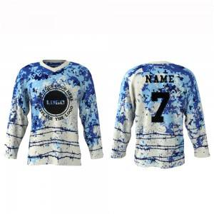 OEM Sublimation E Bipụtara Ice Hockey Jersey