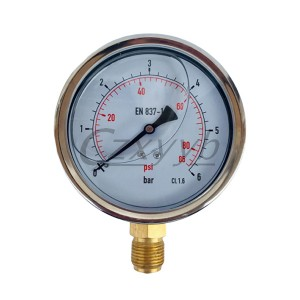 XY-YN manometer Stainless Steel Liquid Filled Luftdruck Gauge
