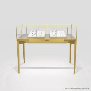 Rectangular Top Lighting Elegant Jewelry Glass Display Showcase
